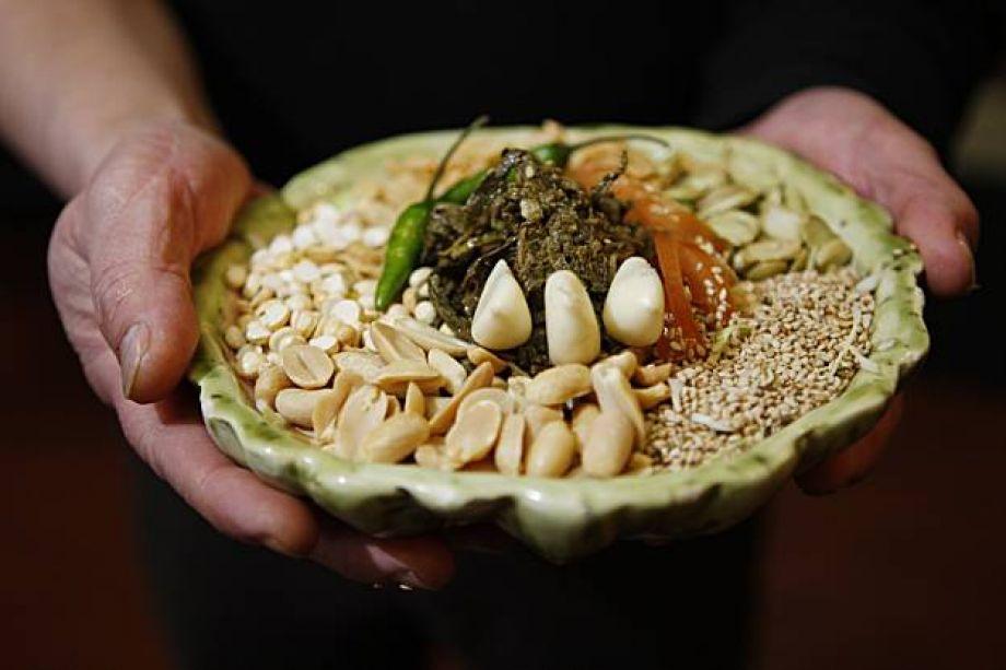 Birmese keuken theeblad salade